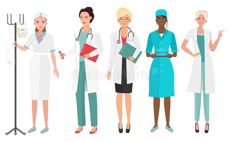 Ensemble de médecins féminins dans différentes poses Infirmière de docteur de femme Illustration de vecteur illustration de vecteur