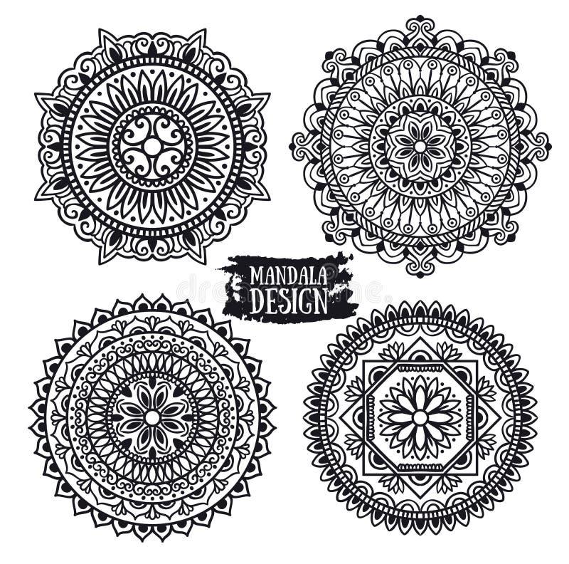 Ensemble de méditation ethnique de mandala D'isolement sur le fond blanc illustration stock