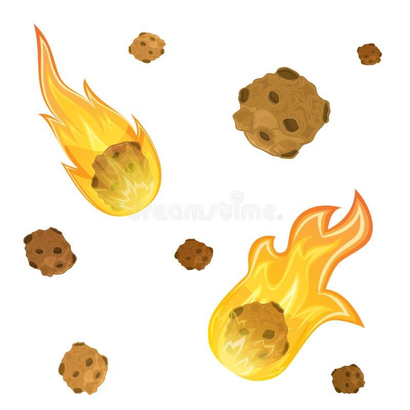 Ensemble de météorites illustration libre de droits