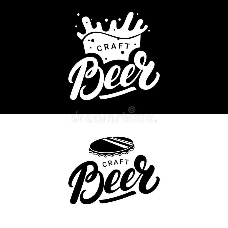 Ensemble de main de bière écrit marquant avec des lettres des logos, labels, insignes pour la brasserie, société de brassage, bar illustration libre de droits