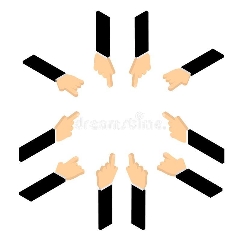 Ensemble de main dirigeant le doigt illustration libre de droits