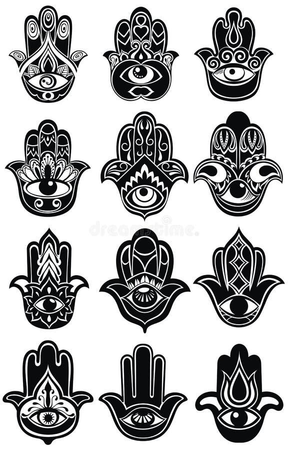 Ensemble de mains de Fatima - amulette illustration de vecteur