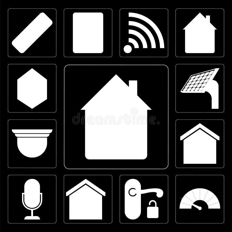 Ensemble de maison, mètre, poignée, maison futée, contrôle de voix, sécurité illustration libre de droits