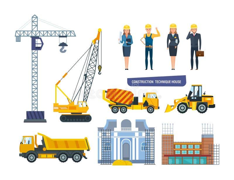 Ensemble de maison de technique de construction Entreprise de construction personnelle d'ingénieurs de caractères illustration libre de droits