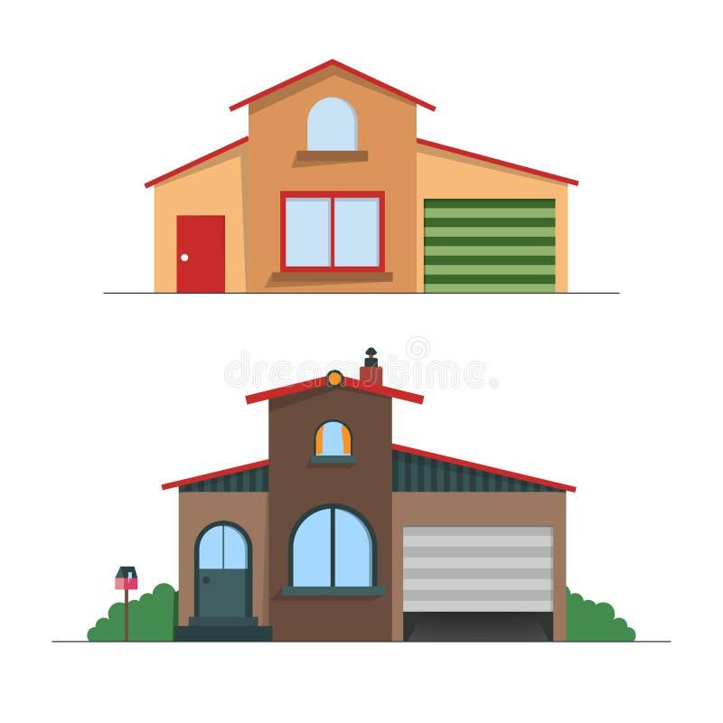 Ensemble de maisons color?es d?taill?es de cottage B?timents modernes de style plat illustration stock