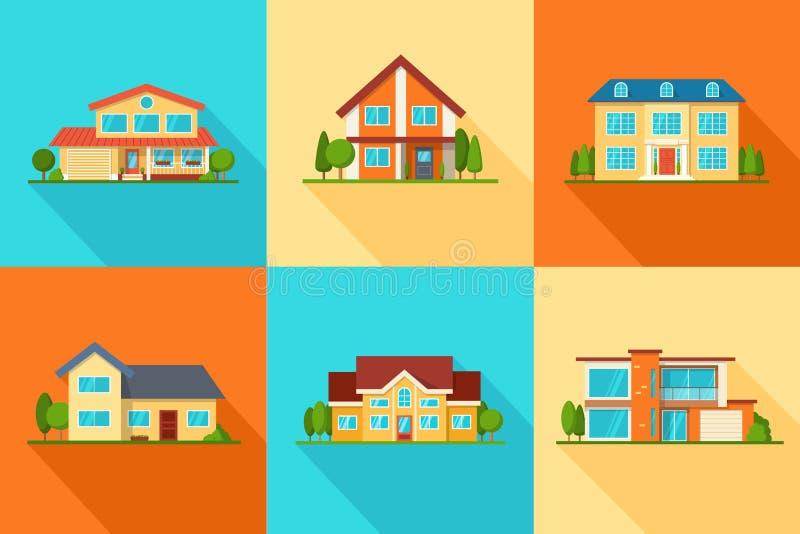 Ensemble de maisons modernes de cottage de ville, icônes de bâtiments, vue de face illustration stock