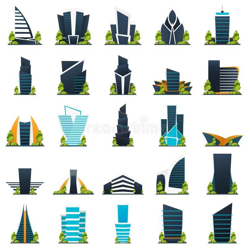 Ensemble de maisons modernes de ville de style plat Bâtiment d'avenir Architecture de l'avenir illustration libre de droits