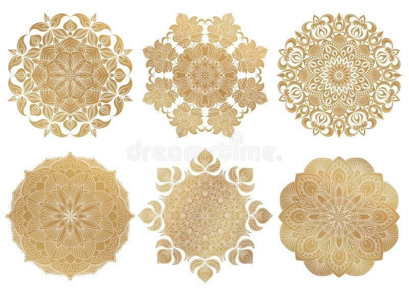 Ensemble de mandala arabe de l'or 6 tiré par la main sur le fond blanc Ornement décoratif de vecteur ethnique illustration de vecteur