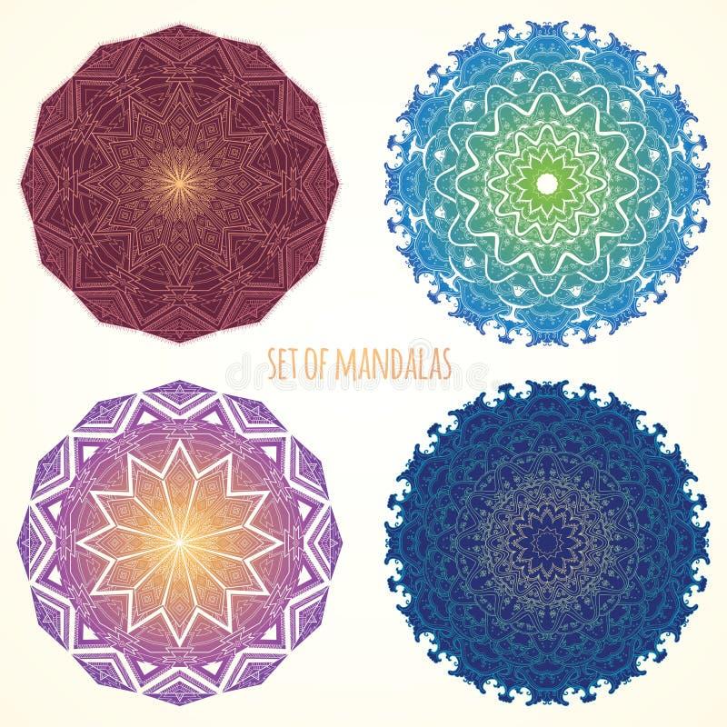 Ensemble de mandalas de couleur Motifs ethniques illustration stock