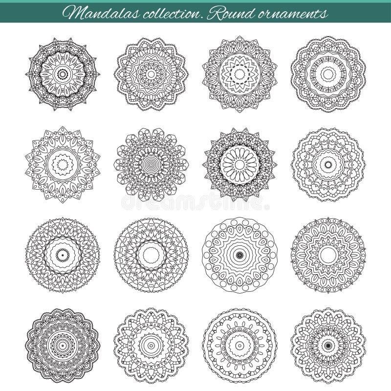 Ensemble de mandalas ethniques décoratifs Le contour isole l'ornement Dirigez la conception avec l'Islam, Indien, motifs arabes illustration stock
