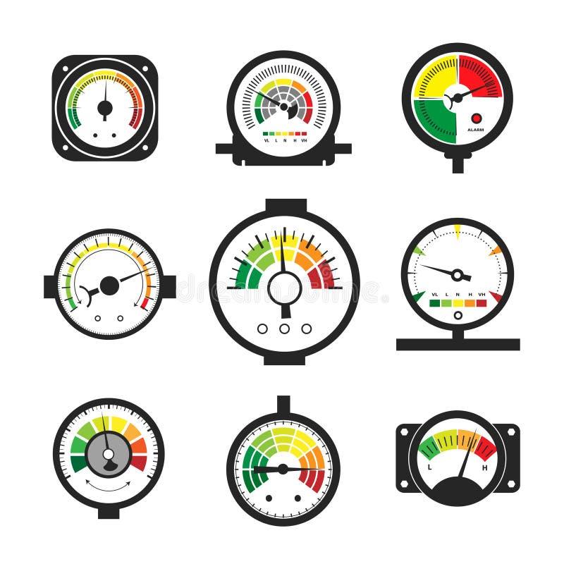 Ensemble de manomètre, indicateur de pression et mesure illustration stock