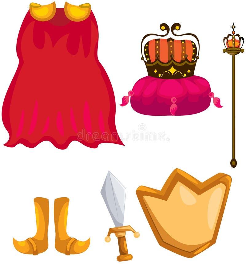 Ensemble de manteau, de couronne, d'épée, de chield et de sceptre illustration stock