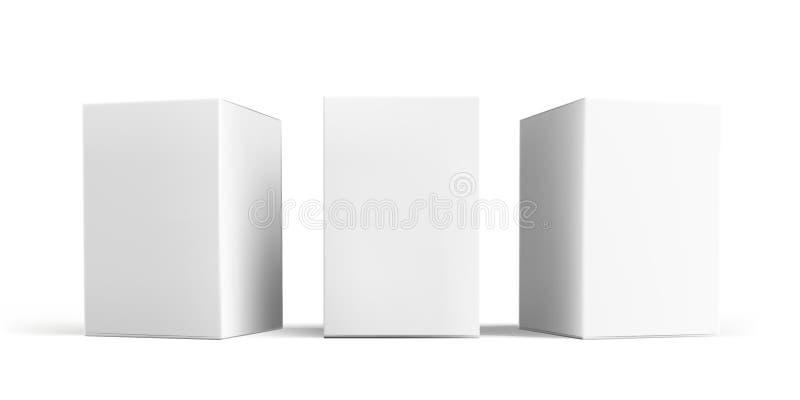 Ensemble de maquette de boîte Calibres blancs de modèles de boîtes de paquet de carton ou de papier du carton 3D d'isolement par  illustration libre de droits