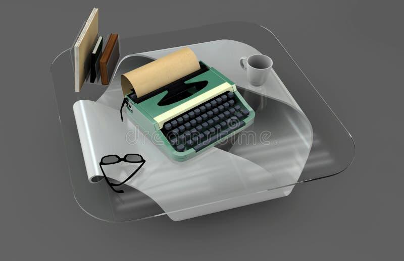 Ensemble de maquette de bureau d'auteur Bureau avec la machine à écrire, les livres, le cofe et le verre Lieu de travail d'auteur illustration libre de droits