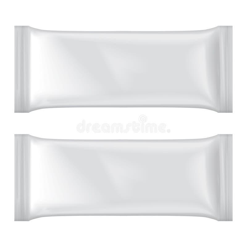 Ensemble de maquette de paquet de crème glacée, paquet vide blanc de casse-croûte de sachet en matière plastique illustration de vecteur