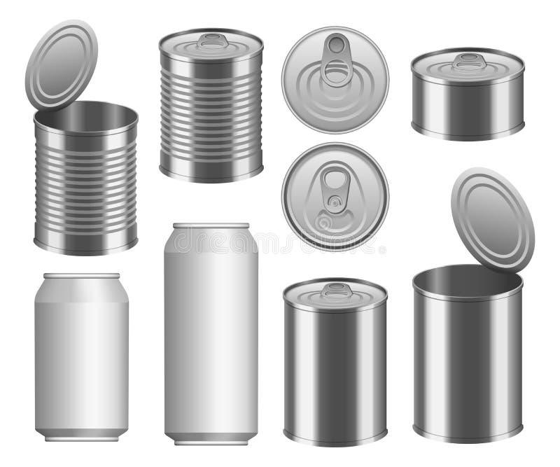 Ensemble de maquette de paquet de nourriture de boîte en fer blanc, style réaliste illustration de vecteur