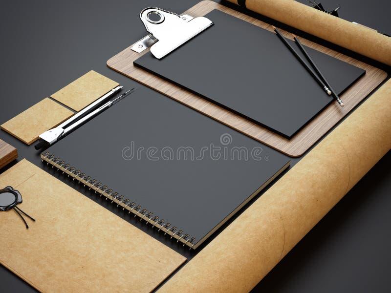 Ensemble de maquettes de métier sur le fond de papier noir image stock