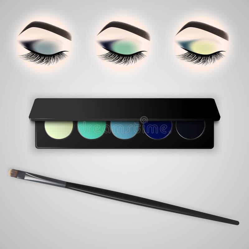 Ensemble de maquillage d'oeil Oeil fermé avec de longs cils illustration de vecteur