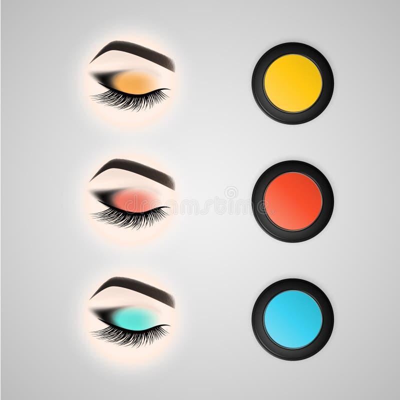 Ensemble de maquillage d'oeil Oeil fermé avec de longs cils illustration stock