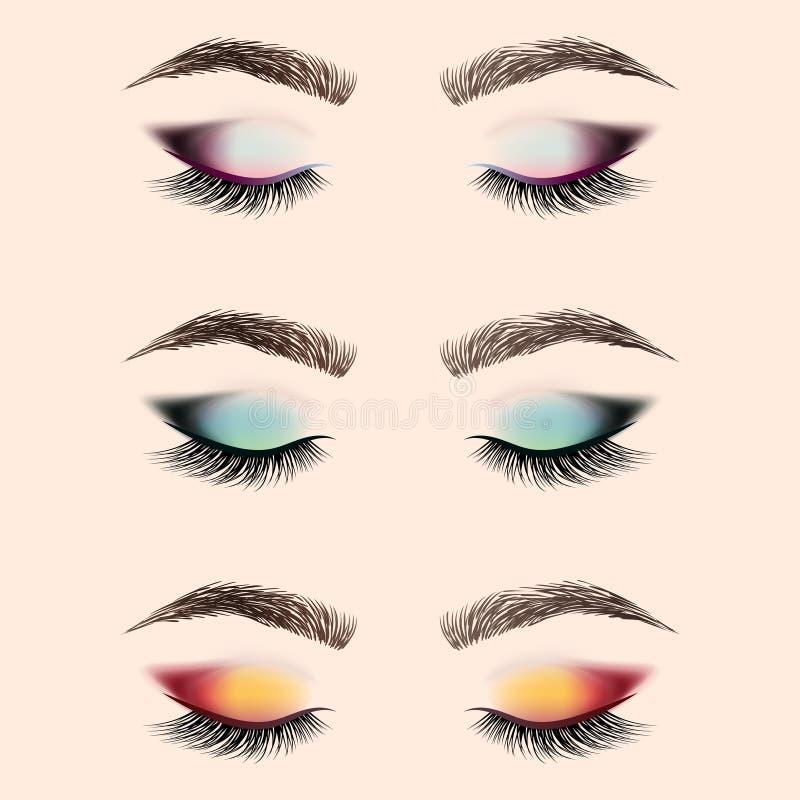 Ensemble de maquillage d'oeil Oeil fermé avec de longs cils et sourcils illustration de vecteur
