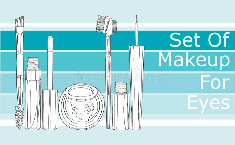 Ensemble de maquillage pour les yeux illustration libre de droits