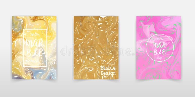 Ensemble de marbre frais de couverture de texture d'encre Conception de revue de mode de peinture de liquide du vecteur A4 Paquet illustration de vecteur