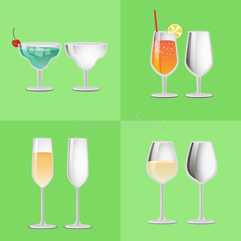 Ensemble de margarita vide régénératrice en verre de cocktail illustration stock