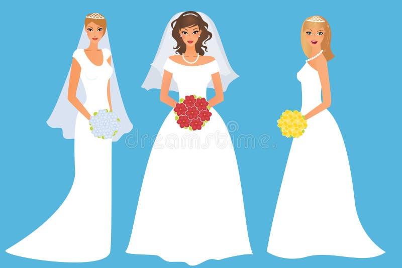 Ensemble de mariées heureuses illustration de vecteur