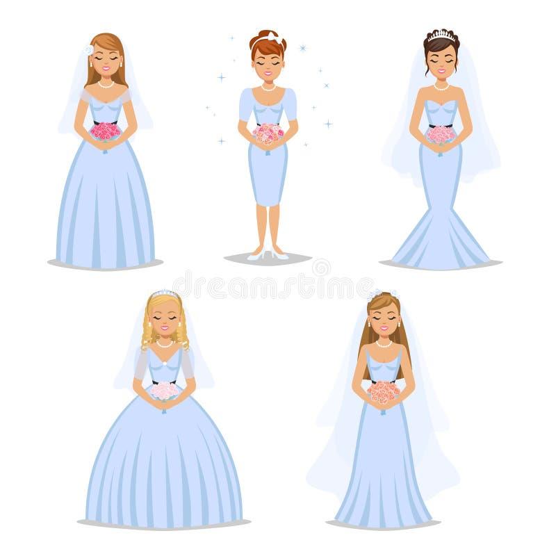 Ensemble de mariées heureuses Différents types collection de robe de mariage illustration libre de droits