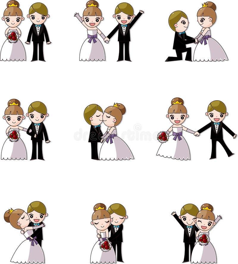 Ensemble de mariage, de marié et de mariée illustration de vecteur