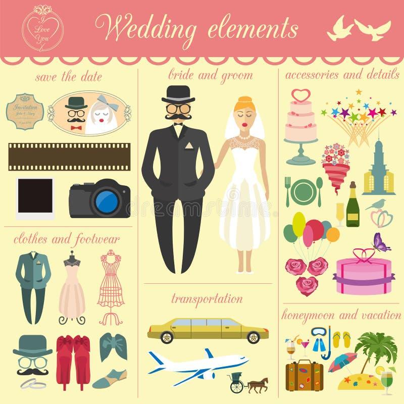 Ensemble de mariage de vintage, de style de mode et d'ele infographic de voyage illustration libre de droits