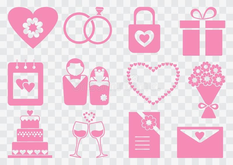 Ensemble de mariage, silhouettes roses Illustration de vecteur illustration stock