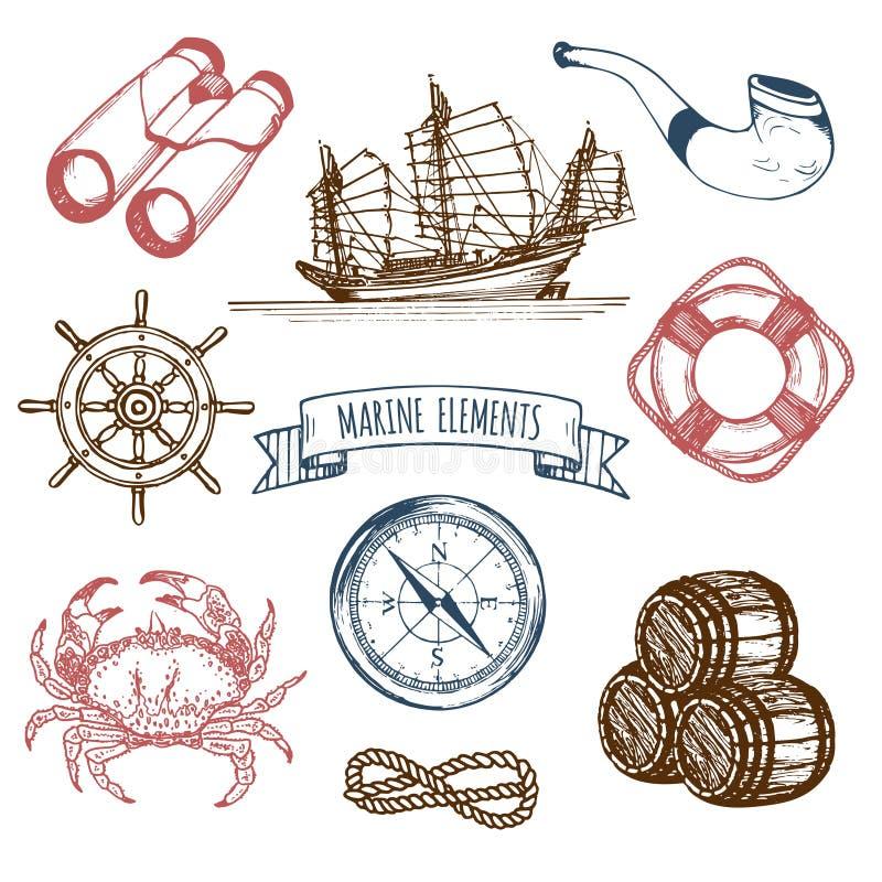 Ensemble de marine La main de vecteur a esquissé des illustrations de mer Le pirate de vintage risque des signes Collection marit illustration stock