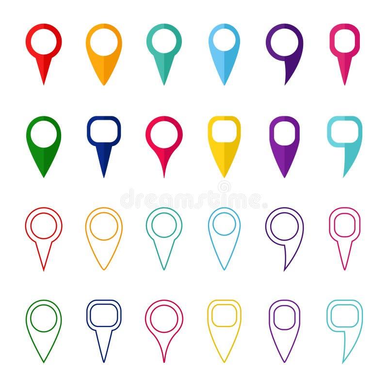 Ensemble de marqueurs de carte couleur et d'indicateurs, illustration de vecteur illustration libre de droits
