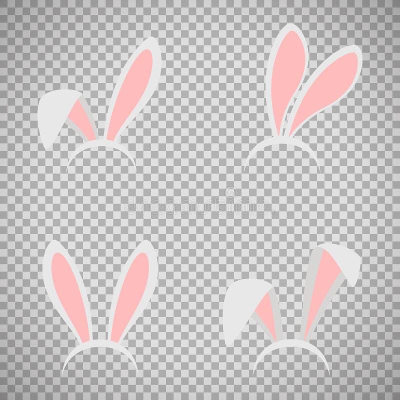 Ensemble de masque d'oreilles de lapin de Pâques illustration de vecteur