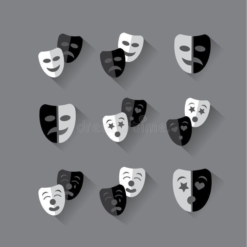 Ensemble de masques théâtraux noirs et blancs de conception plate illustration libre de droits