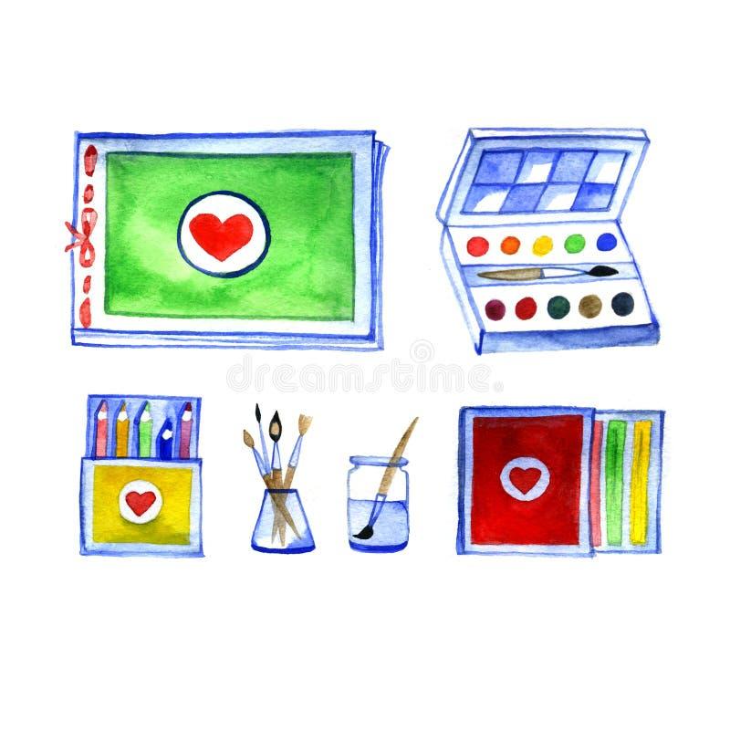 Ensemble de matériaux d'art, dessinant par l'aquarelle, accessoires pour la peinture image libre de droits