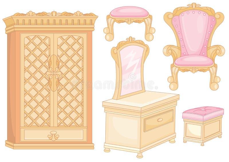 Ensemble de meubles dans la chambre à coucher illustration stock