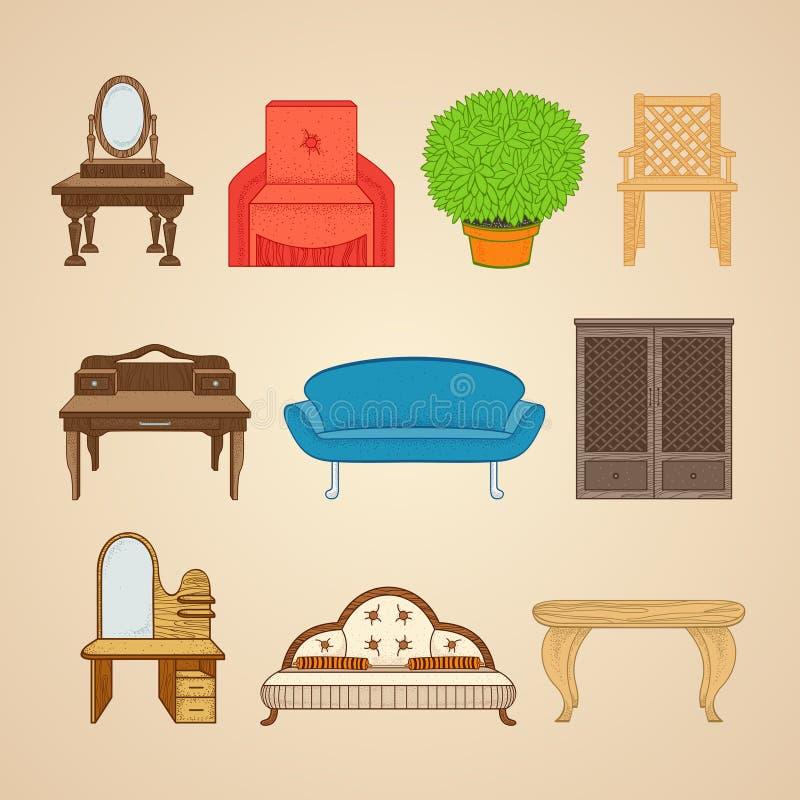 Ensemble de meubles de dix illustrations illustration libre de droits