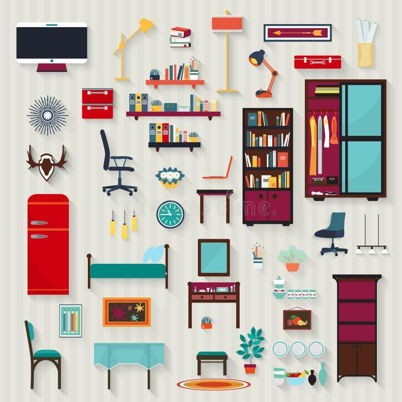 Ensemble de meubles de salles de vecteur de maison illustration stock