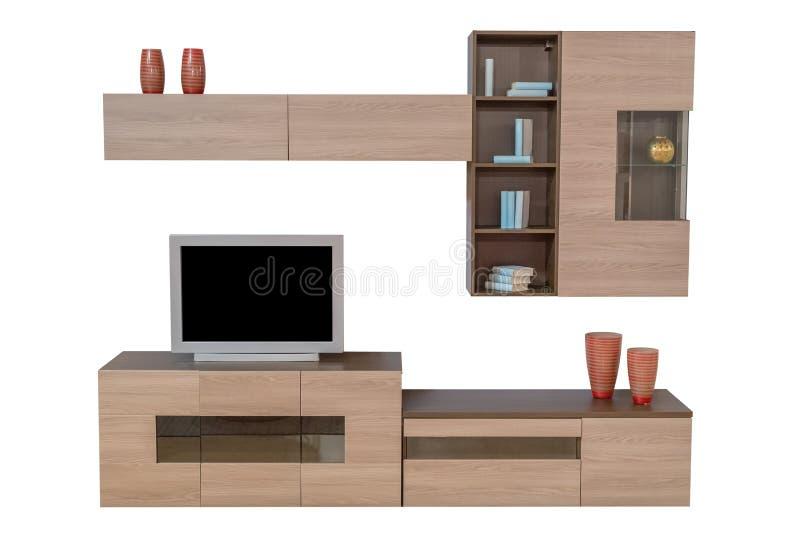 Ensemble de meubles de salon d'isolement sur le fond blanc photographie stock
