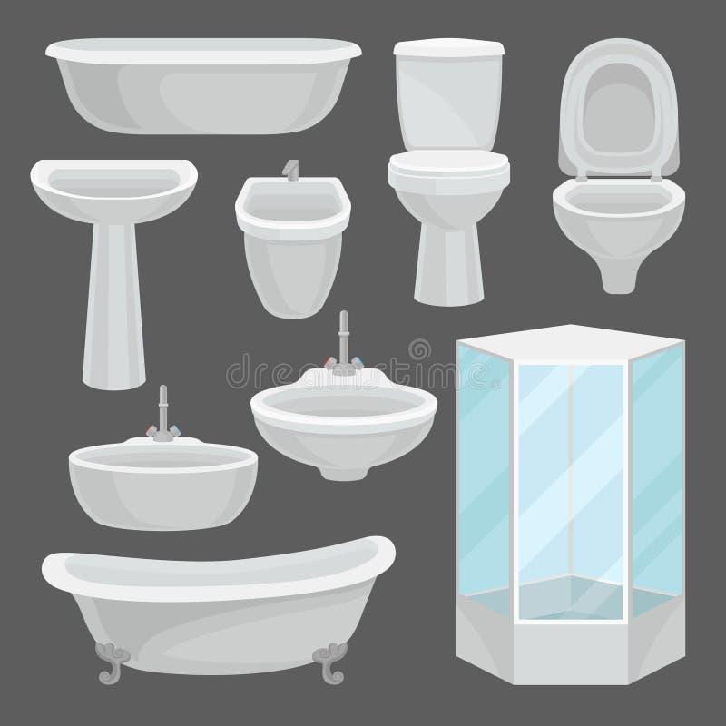 Ensemble de meubles de salle de bains, éléments intérieurs et équipement de toilettes tel que la baignoire, carlingue de douche,  illustration de vecteur