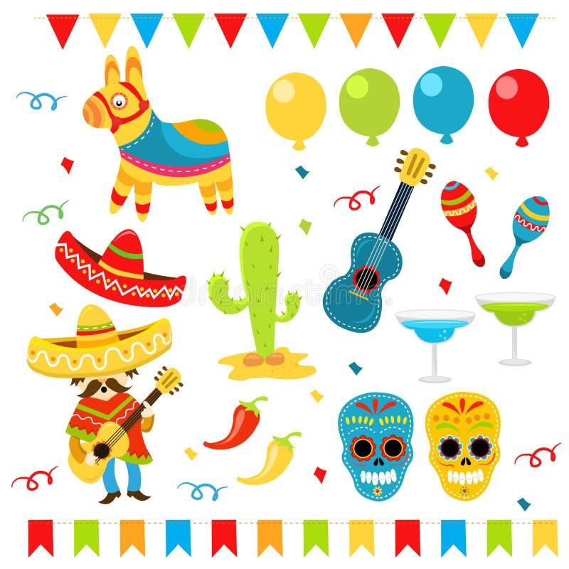 Ensemble de Mexicain illustration stock