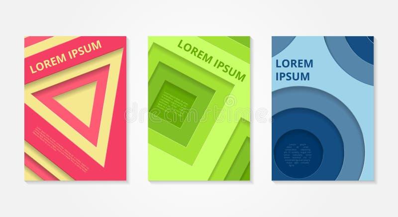 Ensemble de milieux abstraits Conception minimale de couvertures de vecteur illustration de vecteur