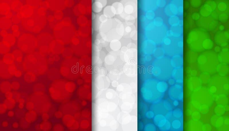 Ensemble de milieux brouillés colorés avec les lumières twinkly illustration libre de droits