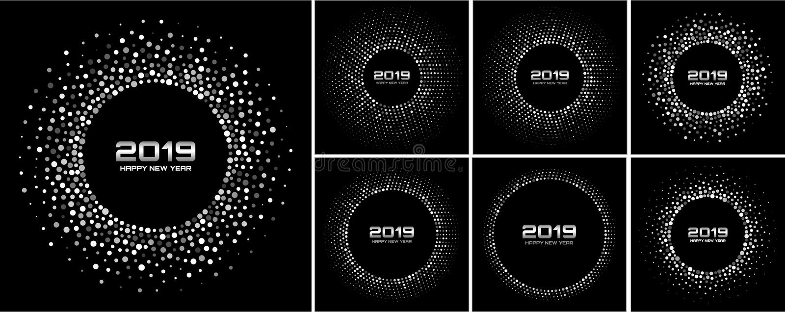 Ensemble de milieux de carte de la nouvelle année 2019 Confettis blancs de papier de scintillement Gray Disco Lights de scintille illustration stock