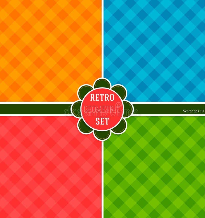 Ensemble de milieux, couleurs lumineuses pour un papier d'emballage élégant Fond géométrique illustration stock