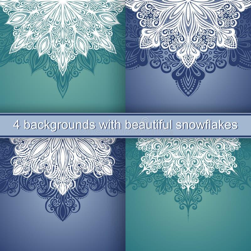 Ensemble de 4 milieux de vacances avec le beau flocon de neige décoratif illustration de vecteur
