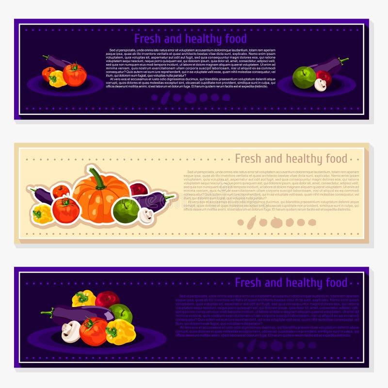 Ensemble de milieux de vecteur, bannières au sujet de la consommation saine Éléments de légumes de vecteur pour l'infographics lé illustration de vecteur