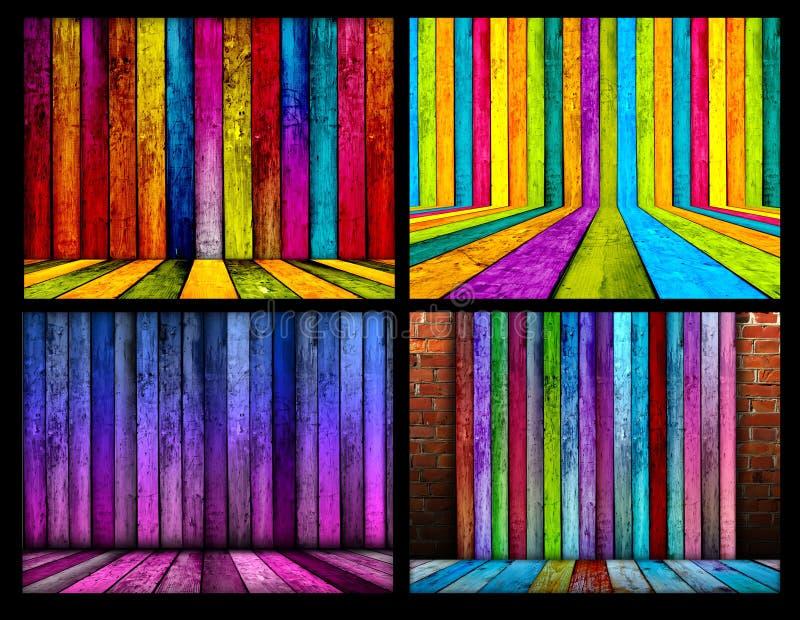 Ensemble de milieux en bois colorés de pièce illustration stock